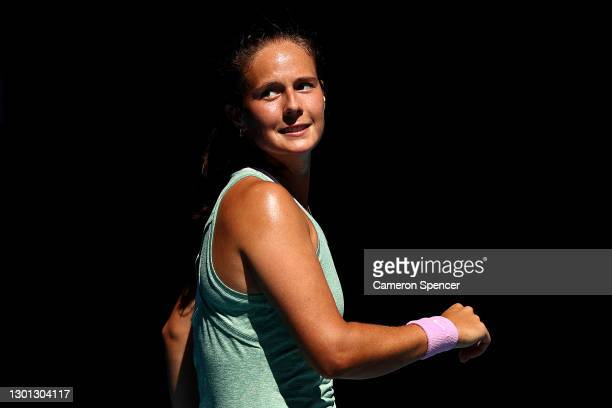 Daria Kasatkina of Russia reacts in her Women's Singles second round match against Aryna Sabalenka of Belarus during day three of the 2021 Australian...