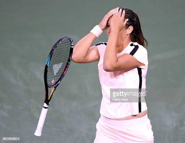 Daria Kasatkina of Russia reacts to her quarterfinal victry over Venus Williams of the United States during the BNP Paribas Open at the Indian Wells...