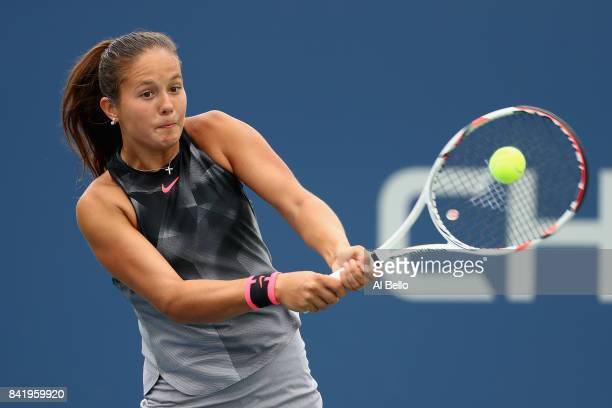 Daria Kasatkina of Russia returns a shot to Jelena Ostapenko of Latvia during their third round Women's Singles match on Day Six of the 2017 US Open...