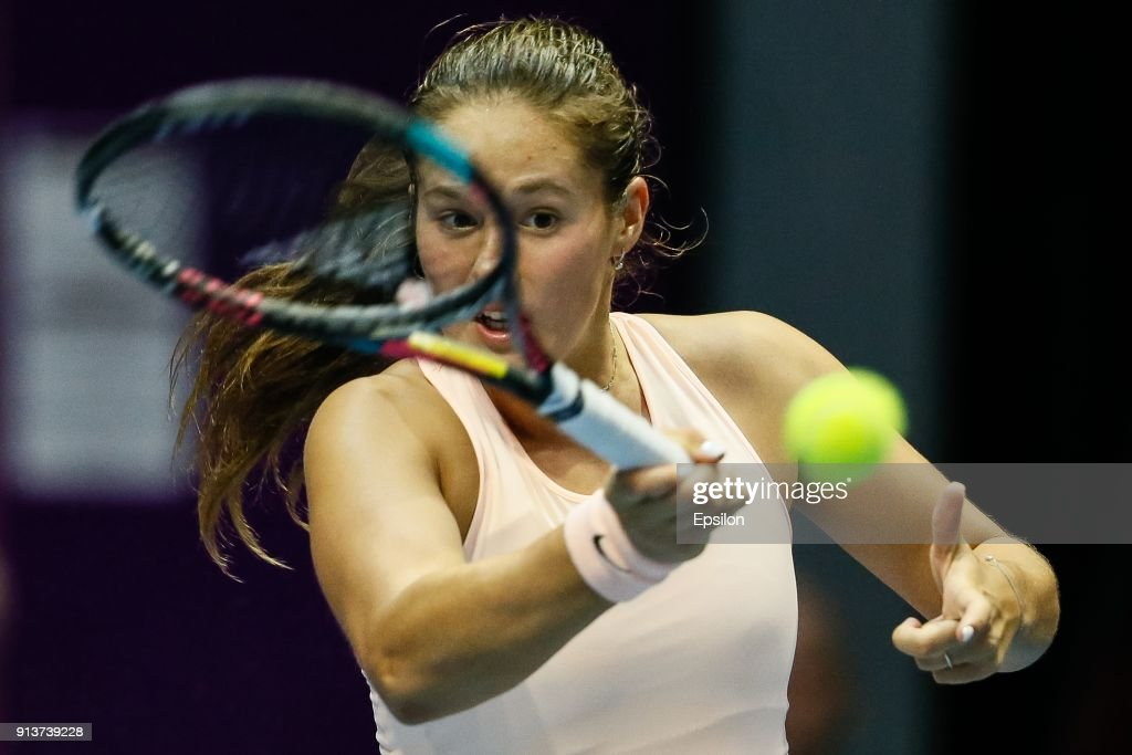 Daria Kasatkina of Russia returns the ball to Kristina Mladenovic of France during their St. Petersburg Ladies Trophy 2018 semi-final tennis match on February 3, 2018 in Saint Petersburg, Russia.