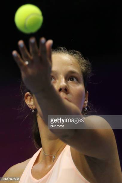 Daria Kasatkina of Russia returns the ball to Kristina Mladenovic of France during the St Petersburg Ladies Trophy ATP tennis tournament semi final...