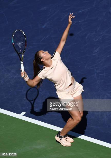 Daria Kasatkina of Russia serves against Angelique Kerber of Germany during Day 9 of BNP Paribas Open on March 15 2018 in Indian Wells California