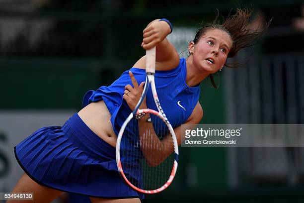 Daria Kasatkina of Russia serves during the Ladies Singles third round match against Kiki Bertens of Netherlands on day seven of the 2016 French Open...