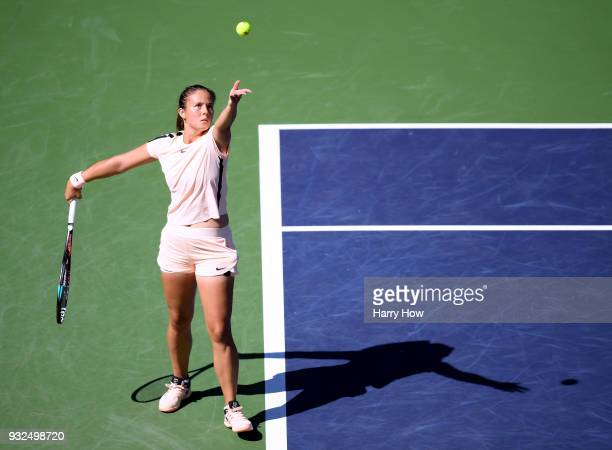 Daria Kasatkina of Russia serves in her match against Angelique Kerber of Germany during the BNP Paribas Open at the Indian Wells Tennis Garden on...