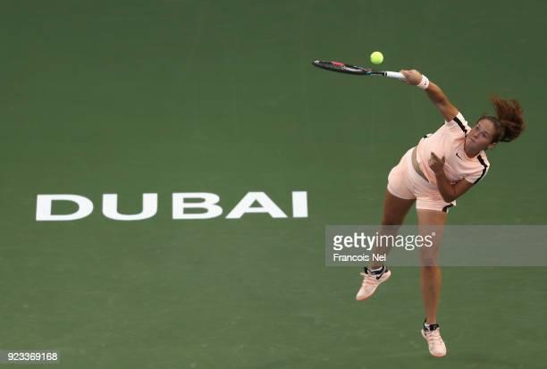 Daria Kasatkina of Russia serves in her semi final match against Garbine Muguruza of Spain during day five of the WTA Dubai Duty Free Tennis...