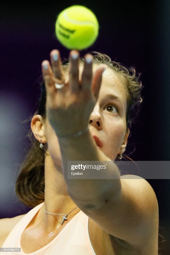 Daria Kasatkina of Russia serves the ball during her St. Petersburg Ladies Trophy 2018 semi-final tennis match against Kristina Mladenovic of France on February 3, 2018 in Saint Petersburg, Russia.