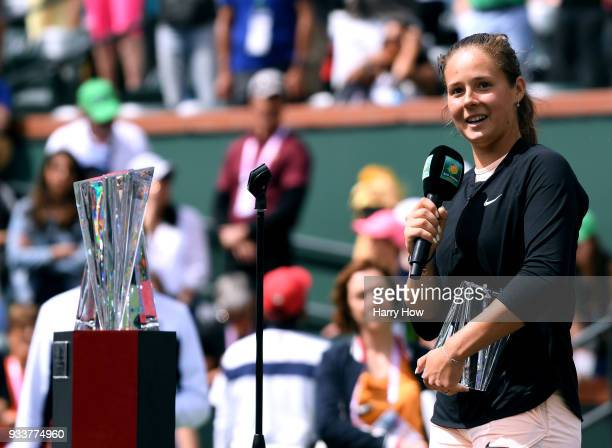 Daria Kasatkina of Russia speaks at the trophy presentation after her loss to Naomi Osaka of Japan in the WTA final during the BNP Paribas Open at...