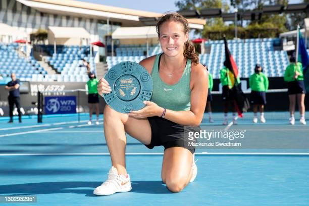 Daria Kasatkina of Russia wins the WTA 250 Phillip Island Trophy Final against Marie Bouzkova of Czeck Republic on February 19, 2021 in Melbourne,...