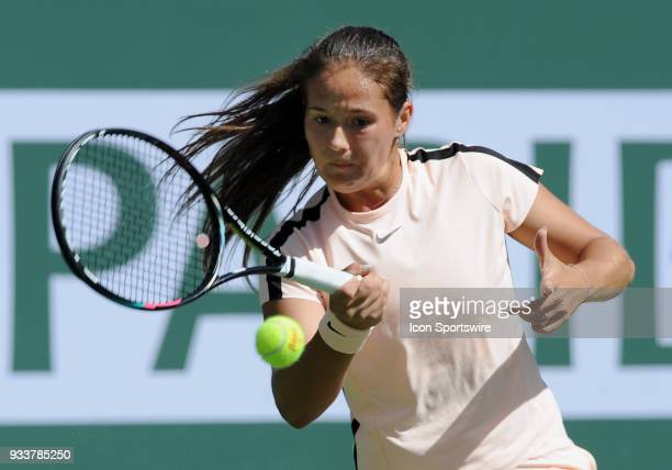 Daria Kasatkina returns the ball during the first set of a finals match played during the BNP Paribas Open on March 18 2018 at the Indian Wells...