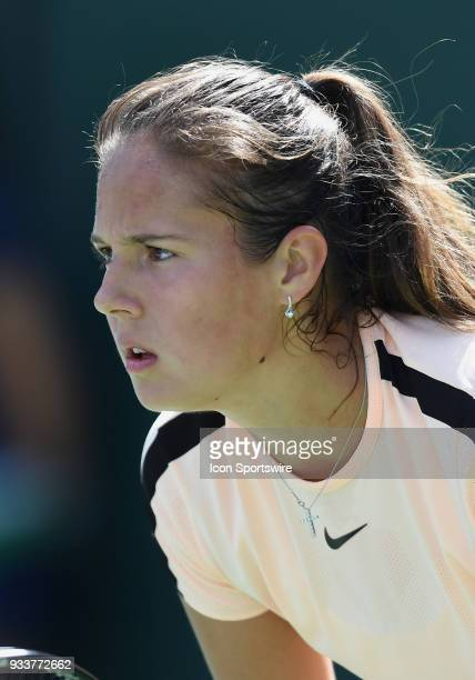 Daria Kasatkina waits for a serve during the first set of a finals match played during the BNP Paribas Open on March 18 2018 at the Indian Wells...