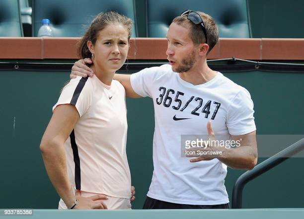 Daria Kasatkina with a member of her team after being defeated by Naomi Osaka in the final match of the BNP Paribas Open played on March 18 2018 at...