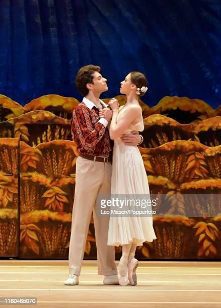 Daria Khokhlova as Zina and Igor Tsvirko as Pyotr in The Bolshoi Ballet's production of Alexei Ratmansky's The Bright Stream at The Royal Opera House...