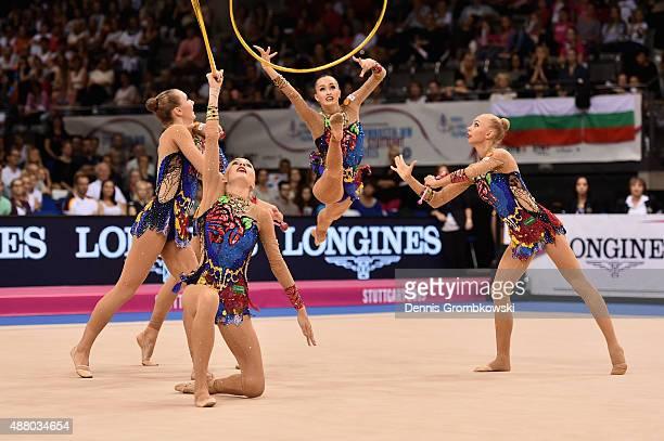 Daria Kleshcheva Anastasiia Maksimova Sofya Skomorokh Anastasiia Tatareva and Maria Tolkacheva of Russia compete in the Group Apparatus Finals on Day...