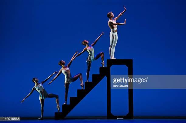 Daria Klimentova Anais Chalendard Begona Cao and Zdenek Konvalina of the English national Ballet perform Apollo as part of Beyond Ballet Russes at...