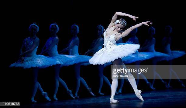 Daria Klimentova of the English National Ballet performs during a dress rehearsal of Swan Lake at the London Coliseum on March 22 2011 in London...