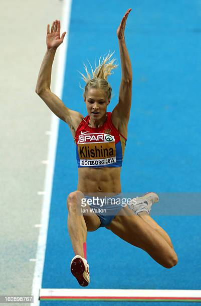 Daria Klishina of Russia competes in the Women's Long Jump qualification during day one of the European Athletics Indoor Championships at...