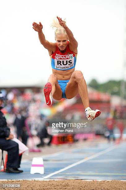 Daria Klishina of Russia competes in the womens long jump during day two of the European Athletics Team Championships at Gateshead International...