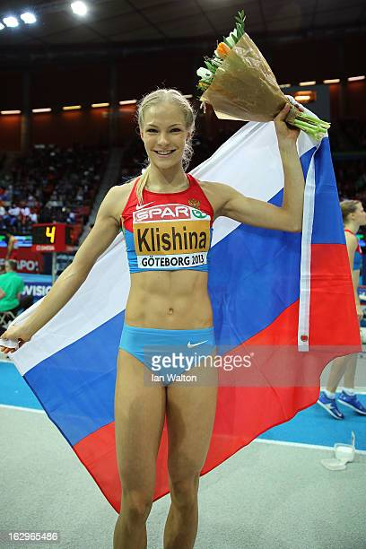 Daria Klishina of Russia wins gold in the Women's Long Jump Final during day two of the European Athletics Indoor Championships at Scandinavium on...