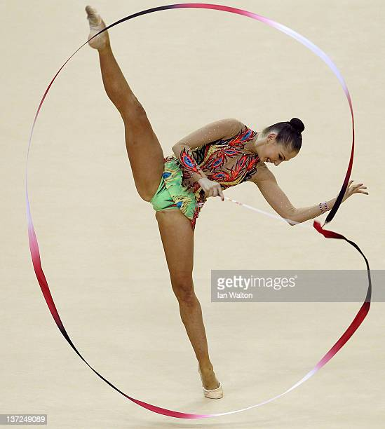 Daria Kondakova of Russia in action in the Individual AllAround during the FIG Rhythmic Gymnastics Olympic Qualification at North Greenwich Arena on...