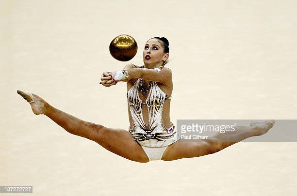 Daria Kondakova of Russia in action in the Individual AllAround during the FIG Rhythmic Gymnastics Olympic Qualification round at North Greenwich...