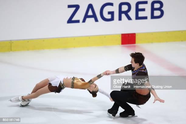 Daria Kvartalova and Alexei Sviatchenko of Russia performs in the Junior Pairs Short Program during day two of the ISU Junior Grand Prix of Figure...