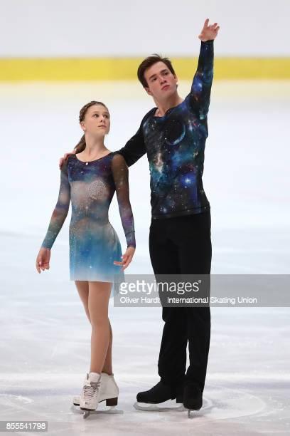 Daria Kvartalova and Alexei Sviatchenko of Russia performs in the Junior Pairs Free Skating Program during day three of the ISU Junior Grand Prix of...