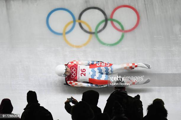 Daria Obratov of Croatia slides during the Women's Singles Luge run 1 at Olympic Sliding Centre on February 12, 2018 in Pyeongchang-gun, South Korea.
