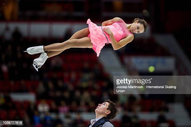 Daria Pavliuchenko and Denis Khodykin of Russia compete in the Pairs Free Skating during day two of the ISU Grand Prix of Figure Skating at the...