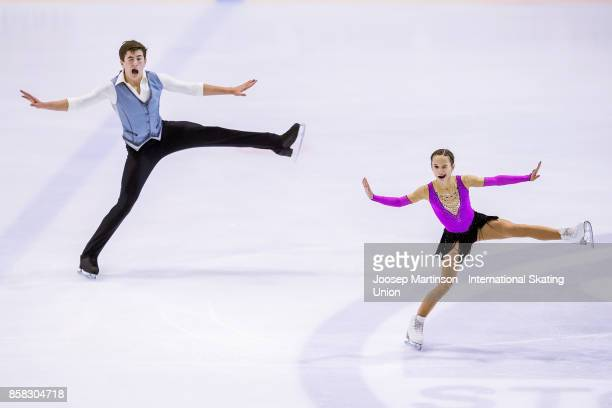 Daria Pavliuchenko and Denis Khodykin of Russia compete in the Pairs Free Skating during day two of the ISU Junior Grand Prix of Figure Skating at...