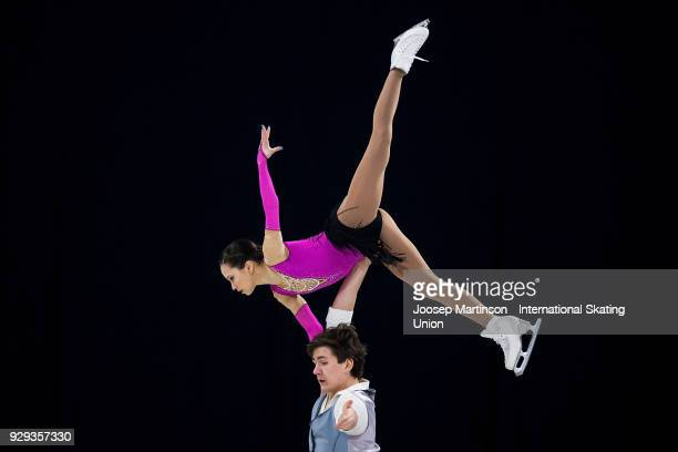 Daria Pavliuchenko and Denis Khodykin of Russia compete in the Pairs Free Skating during the World Junior Figure Skating Championships at Arena...