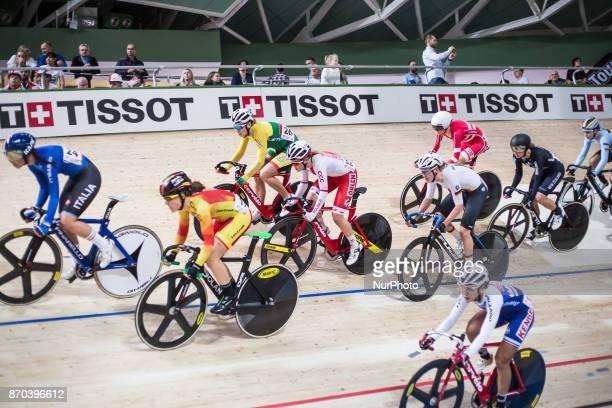 OPIS Daria Pikulik Ana Balerdi Usabiaga Rachele Barbiere Lisa Kullmer Women`s Omnium Scratch race during Track Cycling World Cup Pruszkow 2017 in...
