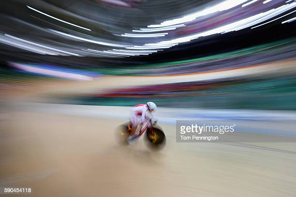 Daria Pikulik of Poland competes during the Women's Omnium Flying Lap 56 race on Day 11 of the Rio 2016 Olympic Games at the Rio Olympic Velodrome on...