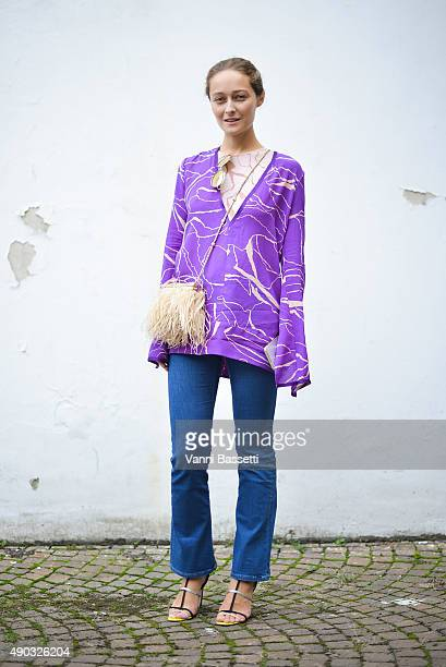 Daria Shapovalova poses wearing a Missoni shirt before the MSGM show during the Milan Fashion Week Spring/Summer 16 on September 27 2015 in Milan...