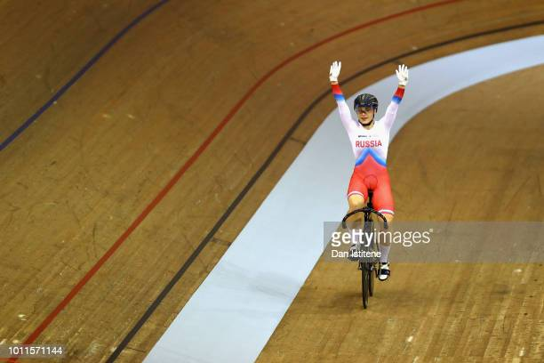Daria Shmeleva of Russia celebrates winning gold in the final of the Women's Sprint during the track cycling on Day Four of the European...