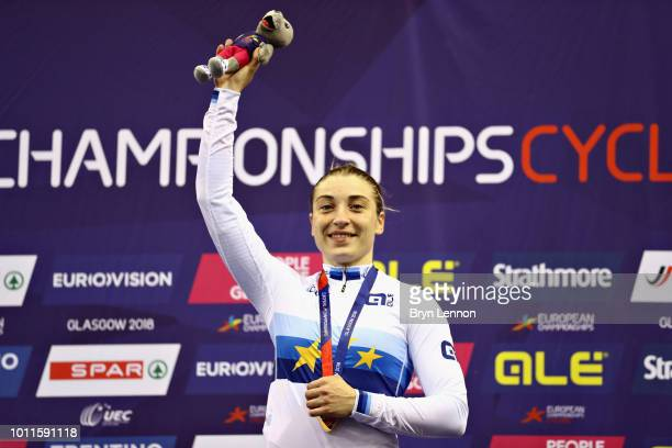 Daria Shmeleva of Russia celebrates winning gold in the Women's Sprint during the track cycling on Day Four of the European Championships Glasgow...