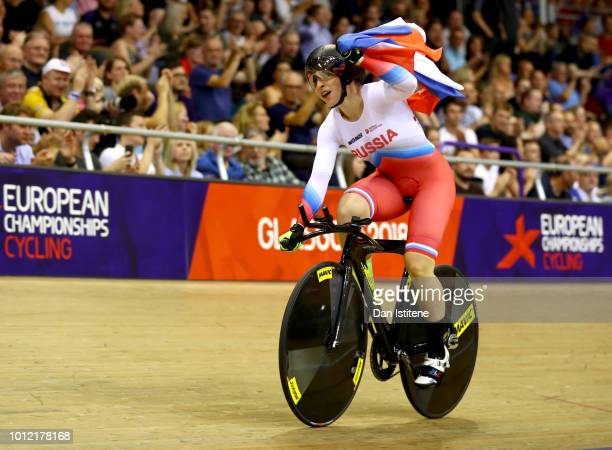 Daria Shmeleva of Russia celebrates winning the gold medal in the Women's Time Trial final during the track cycling on Day five of the European...