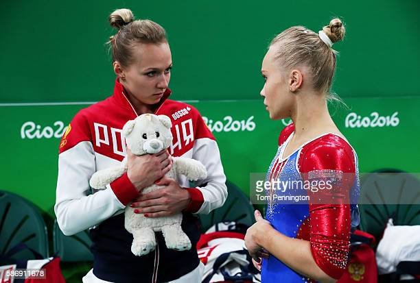 Daria Spiridonova and Angelina Melnikova of Russia show their emotions during Women's qualification for Artistic Gymnastics on Day 2 of the Rio 2016...