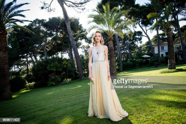 Daria Strokous poses for portraits at the amfAR Gala Cannes 2018 cocktail at Hotel du CapEdenRoc on May 17 2018 in Cap d'Antibes France
