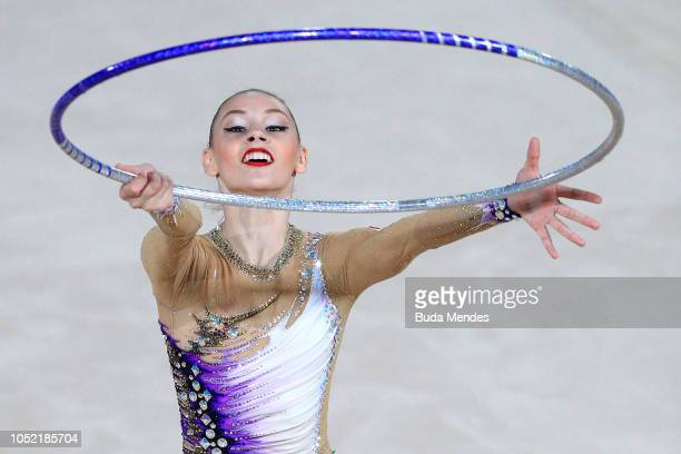 Daria Trubnikova of Russia competes in Hoop as part of Individual AllAround Qualification Subdivision 1 Rotation 1 during Day 3 of Buenos Aires 2018...