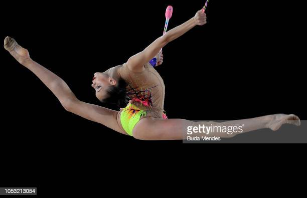 Daria Trubnikova of Russia competes in ndividual AllAround Qualification Subdivision 2 Rotation 3 during Day 4 of Buenos Aires 2018 Youth Olympic...