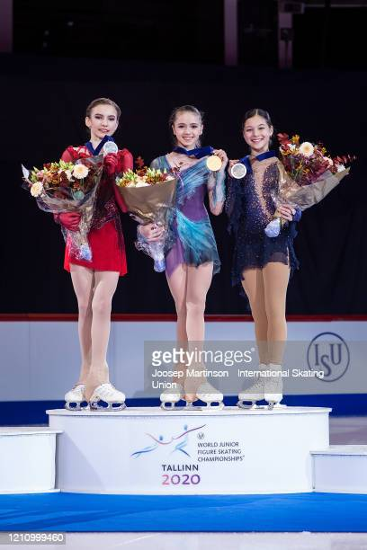 Daria Usacheva of Russia Kamila Valieva of Russia and Alysa Liu of the United States pose in the Junior Ladies medal ceremony during day 4 of the ISU...
