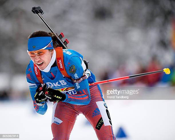 Daria Virolaynen of Russia in action during the Women 4 x 5 km relay Biathlon race at the IBU Biathlon World Cup Ruhpolding on January 17 2016 in...
