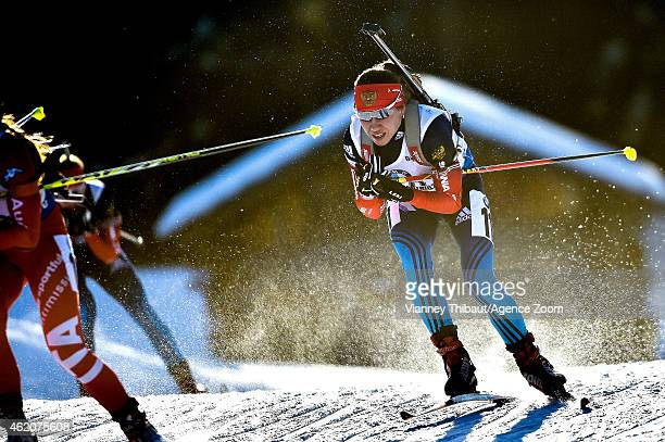Daria Virolaynen of Russia takes 2nd place during the IBU Biathlon World Cup Men's and Women's Pursuit on January 24 2015 in AntholzAnterselva Italy