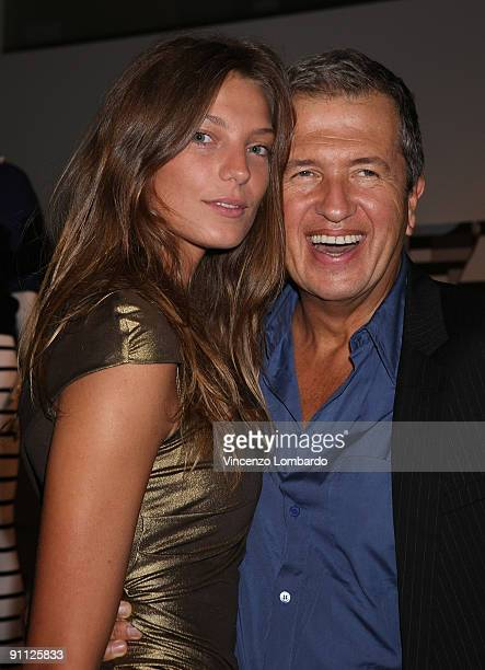 Daria Werbowy and Mario Testino attend the Stefanel 50th Anniversary Party as part of the Milan Womenswear Fashion Week Spring/Summer 2010 at the...