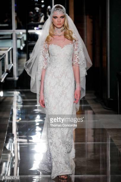Daria Zhemkova walks the runway wearing Reem Acra at Tiffany Co on April 18 2017 in New York City