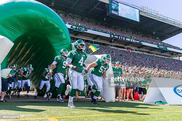 Darian Durant and the Saskatchewan Roughriders take the field for the Labour Day Classic game between the Winnipeg Blue Bombers and Saskatchewan...