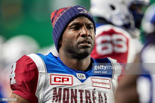 Darian Durant of the Montreal Alouettes on the sideline during the game between the Montreal Alouettes and Saskatchewan Roughriders at Mosaic Stadium...