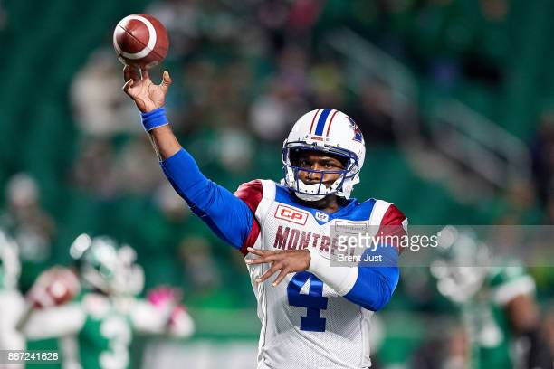 Darian Durant of the Montreal Alouettes throws a pass during pregame warmup for the game between the Montreal Alouettes and Saskatchewan Roughriders...