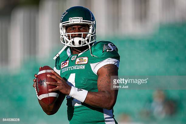 Darian Durant of the Saskatchewan Roughriders during warmup before the game between the Toronto Argonauts and Saskatchewan Roughriders at Mosaic...