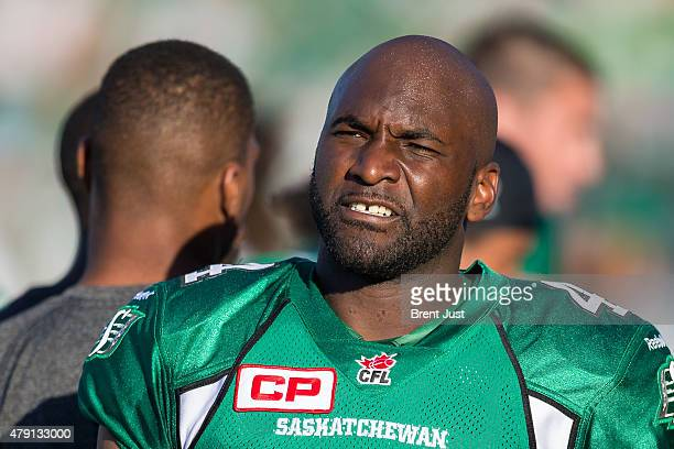Darian Durant of the Saskatchewan Roughriders looks on in a game between the Winnipeg Blue Bombers and Saskatchewan Roughriders in week 1 of the 2015...